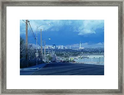 Blue Vegas Framed Print