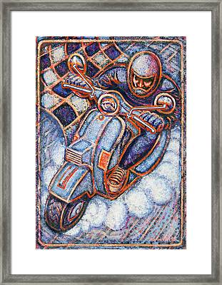 Blue Vespa Framed Print