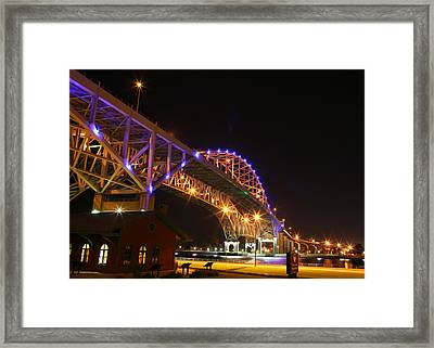 Blue Water Bridge At Night Framed Print