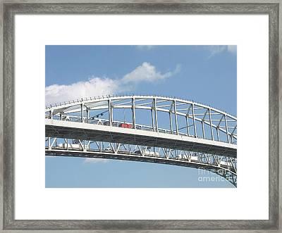 Blue Water Bridge Traffic Framed Print by Ann Horn