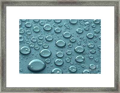Blue Water Drops Framed Print by Blink Images