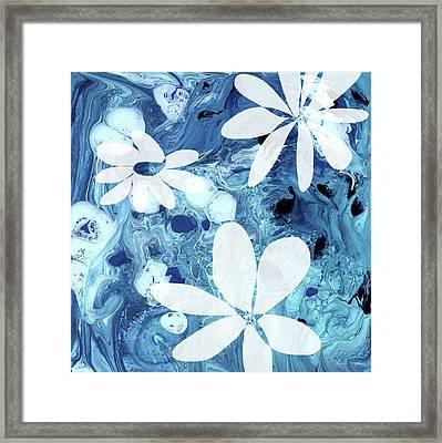 Blue Water Flowers- Art By Linda Woods Framed Print