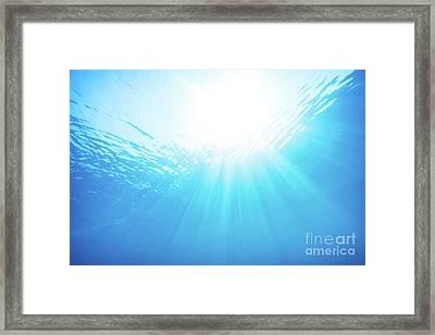 Blue Water Underwater Background Framed Print