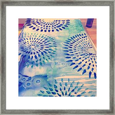 #blue Watercolor And #alcoholdrops Give Framed Print by Robin Mead