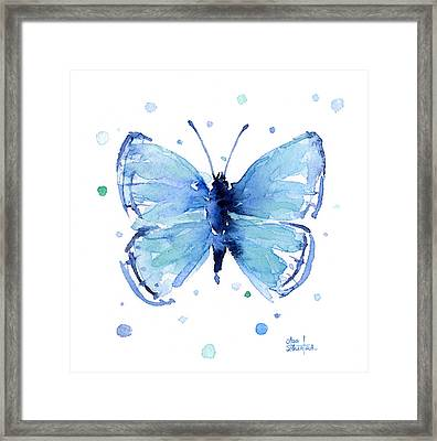 Blue Watercolor Butterfly Framed Print by Olga Shvartsur