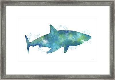 Blue Watercolor Shark- Art By Linda Woods Framed Print