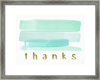Blue Watercolor Stripe Thank You- Art By Linda Woods Framed Print by Linda Woods