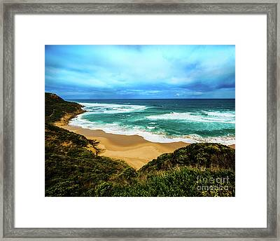 Framed Print featuring the photograph Blue Wave Beach by Perry Webster
