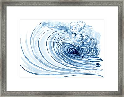 Blue Wave Modern Loose Curling Wave Framed Print