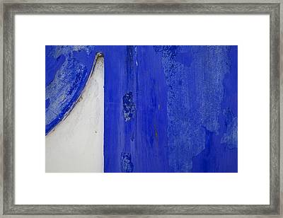 Blue Weathered Wall Of Old World Europe Framed Print