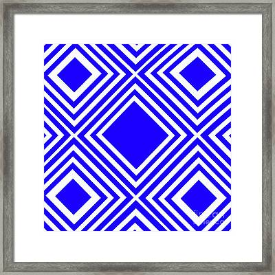 Blue White Pattern By Kaye Menner Framed Print