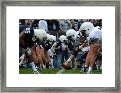 Blue White Penn State Football Framed Print by Michael Misciagno