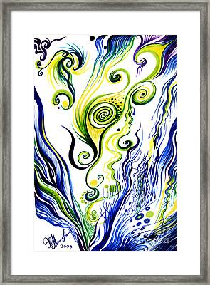 Blue Wind, Rainy Day. Abstract Art Framed Print