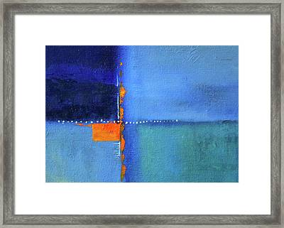Framed Print featuring the painting Blue Window Abstract by Nancy Merkle