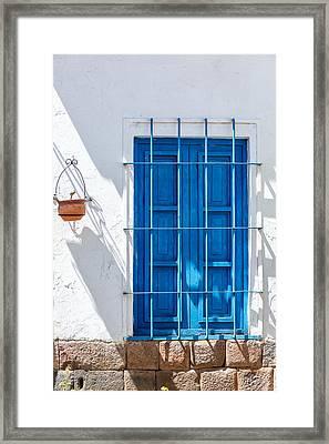 Blue Window And White Wall Framed Print by Jess Kraft