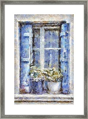 Blue Window Framed Print by Shirley Stalter