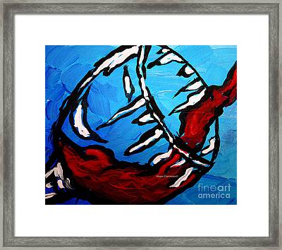 Blue Wine Abstract Pop Art Style Wine Glass Pouring Painting By Megan Duncanson Framed Print