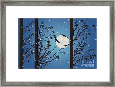 Framed Print featuring the digital art Blue Winter Moon by Kim Prowse