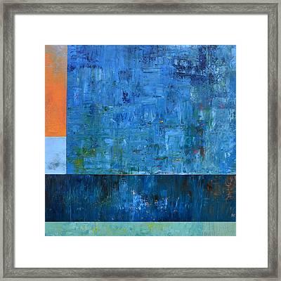 Blue With Orange Framed Print