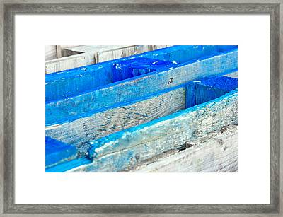 Blue Wooden Crates Framed Print by Tom Gowanlock