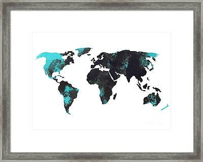 Blue World Map Watercolor Painting Framed Print by Joanna Szmerdt