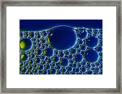 Blue Yellow Bubbles By Kaye Menner Framed Print by Kaye Menner