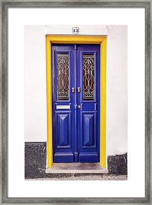Blue Yellow Door Framed Print by David Letts