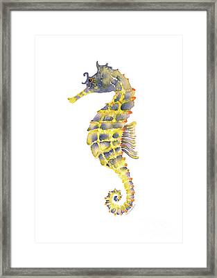 Blue Yellow Seahorse - Vertical Framed Print