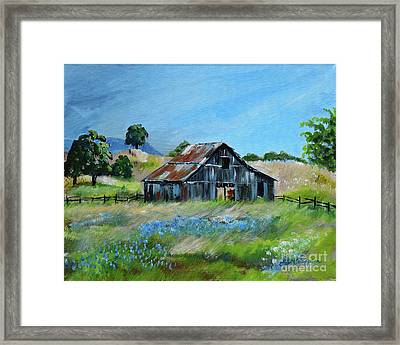 Framed Print featuring the painting Bluebell Barn - Rustic Bar - Bluebellsn by Jan Dappen