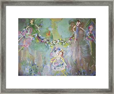Framed Print featuring the painting Bluebell Fairies by Judith Desrosiers
