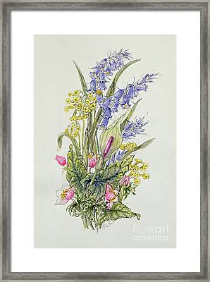 Bluebell Posy With Cowslips, Dogroses And Lily Framed Print