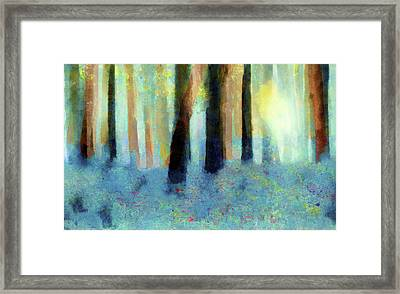 Bluebell Wood-abstract Painting By V.kelly Framed Print by Valerie Anne Kelly