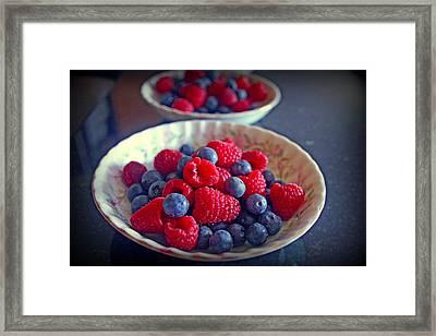 Blueberries And Raspberries Framed Print