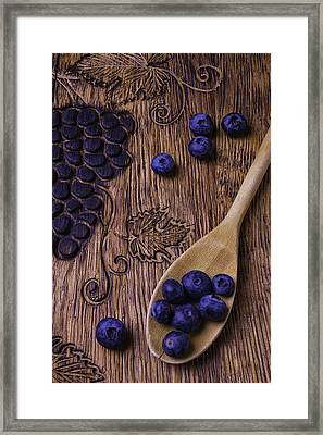 Blueberries With Carvings  Framed Print by Garry Gay