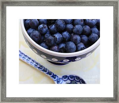 Blueberries With Spoon Framed Print by Carol Groenen