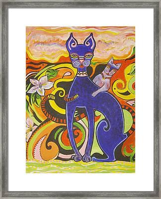 Blueberry Cat Framed Print by Elizabeth Bonanza