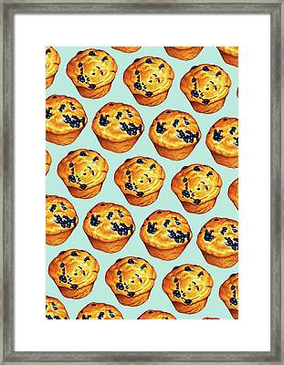 Blueberry Muffin Pattern Framed Print