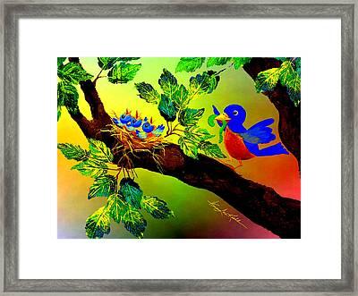 Bluebird Baby Breakfast Framed Print by Hanne Lore Koehler
