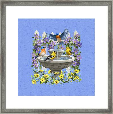 Bluebird Goldfinch Birdbath Garden Light Blue Framed Print
