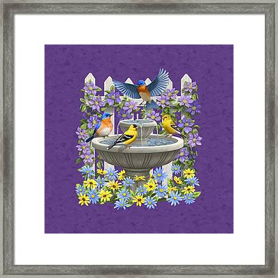 Bluebird Goldfinch Birdbath Garden Mauve Framed Print by Crista Forest