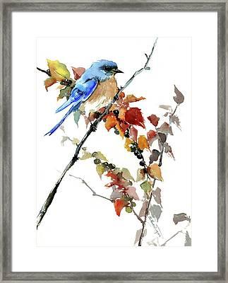 Bluebird In The Fall Framed Print
