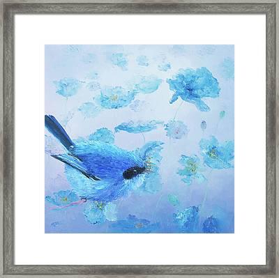 Bluebird On Blue Poppies Framed Print