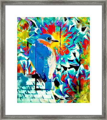 Bluebird Pop Art Framed Print by Tina LeCour