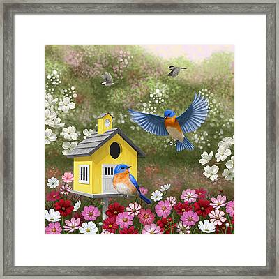 Bluebirds And Yellow Birdhouse Framed Print