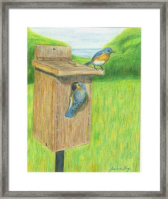Framed Print featuring the painting Bluebirds by Jeanne Kay Juhos