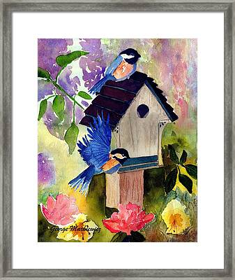 Bluebirds Nesting Framed Print by George Markiewicz