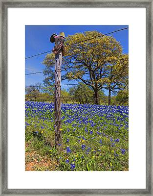 Bluebonnet Boot Post Framed Print