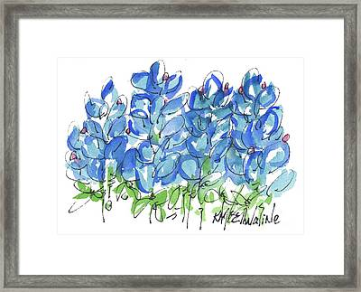 Bluebonnet Dance Watercolor By Kmcelwaine Framed Print
