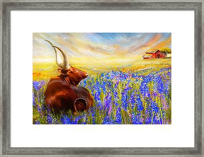 Bluebonnet Dream - Bluebonnet Paintings Framed Print