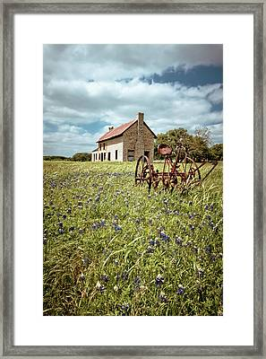 Framed Print featuring the photograph Bluebonnet Fields by Linda Unger